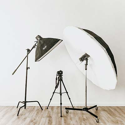 photography equipment on white wall everett photographer